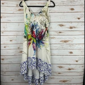 Maeve sleeveless deep v dress size 2 high low silk
